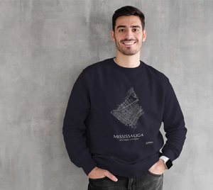 white streets of Mississauga, Ontario, on navy crewneck sweatshirt with male model