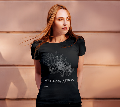 Women's Tee with Map of Waterloo Region