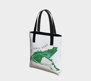map of Victoria Park in Kitchener - front of tote bag