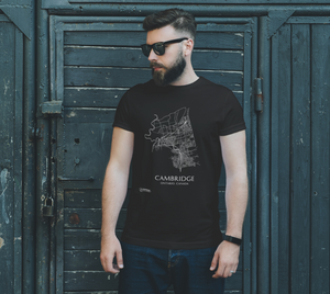 Unisex Tee with Map of Cambridge