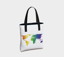 Load image into Gallery viewer, Tote Bag with Rainbow World Map