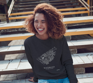 white streets of Waterloo, Ontario, on dark heather crewneck sweatshirt with female model