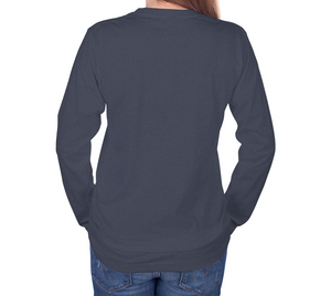 back of navy long sleeve tshirt with female model