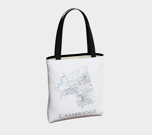 Tote Bag with Art Map of Cambridge Streets