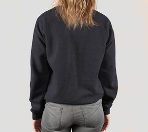 back of dark heather crewneck sweatshirt on female model