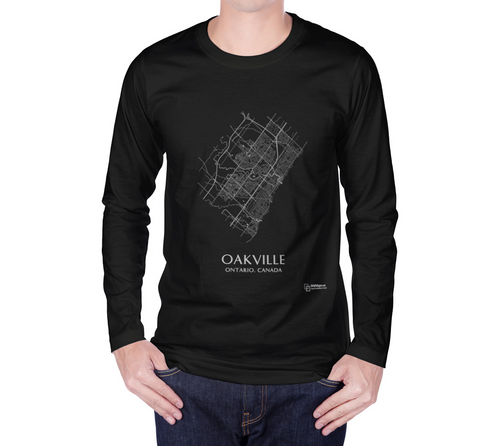 white streets of Oakville, Ontario, on black long sleeve tshirt with male model