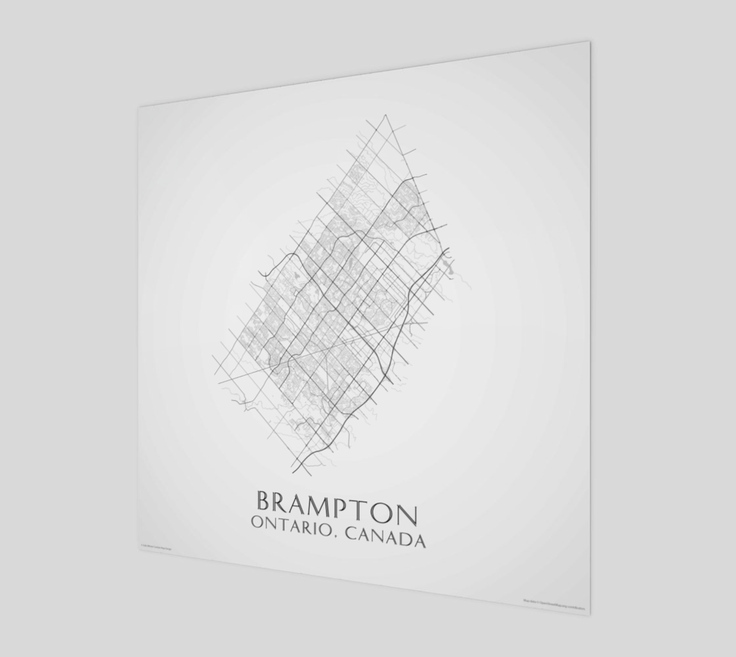 black and white map of Brampton, Ontario, streets - glossy poster - square