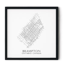 Load image into Gallery viewer, black and white map of Brampton, Ontario, streets - fine art matte print in black frame - square