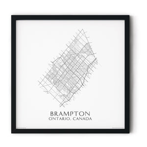 black and white map of Brampton, Ontario, streets - fine art matte print in black frame - square