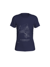 Load image into Gallery viewer, Women's Tee with Map of Cambridge