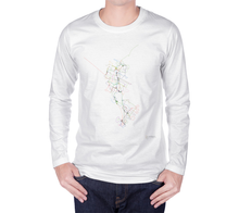 Load image into Gallery viewer, colourful map of Waterloo Region transit routes on white long sleeve tshirt with male model