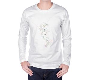 colourful map of Waterloo Region transit routes on white long sleeve tshirt with male model