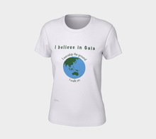 "Load image into Gallery viewer, Fitted T-shirt - ""I believe in Gaia"" with Globe"