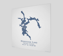 Load image into Gallery viewer, dark blue Horseshoe Lake, Parry Sound, glossy poster - square