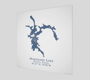 dark blue Horseshoe Lake, Parry Sound, glossy poster - square