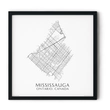 Load image into Gallery viewer, black and white map of Mississauga, Ontario, streets - fine art matte print in black frame - square