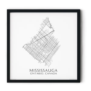 black and white map of Mississauga, Ontario, streets - fine art matte print in black frame - square