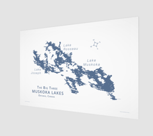 Load image into Gallery viewer, Muskoka's Big 3 Lakes in dark blue with labels, fine art matte print - 3:2 ratio