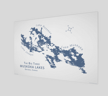 Load image into Gallery viewer, Muskoka's Big 3 Lakes in dark blue, glossy poster - 3:2 ratio
