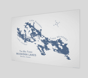 Muskoka's Big 3 Lakes in dark blue, glossy poster - 3:2 ratio