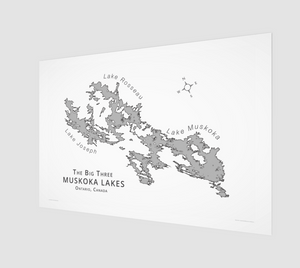 Muskoka's Big 3 Lakes in grey, fine art matte print - 3:2 ratio