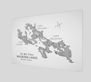 Muskoka's Big 3 Lakes in grey with labels, glossy poster - 3:2 ratio