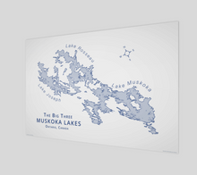 Load image into Gallery viewer, Muskoka's Big 3 Lakes in light blue, glossy poster - 3:2 ratio