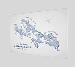 Muskoka's Big 3 Lakes in light blue, glossy poster - 3:2 ratio