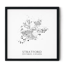 Load image into Gallery viewer, black and white map of Stratford, Ontario, buildings - fine art matte print in black frame - square