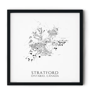 black and white map of Stratford, Ontario, buildings - fine art matte print in black frame - square