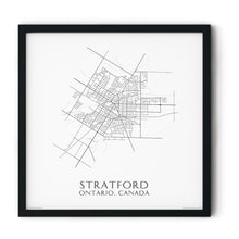Load image into Gallery viewer, black and white map of Stratford, Ontario, streets - fine art matte print in black frame - square
