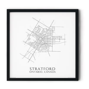 black and white map of Stratford, Ontario, streets - fine art matte print in black frame - square