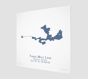 dark blue Three Mile Lake in Muskoka, fine art matte print - square