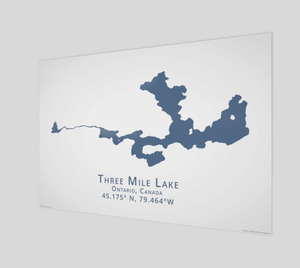 dark blue Three Mile Lake in Muskoka, glossy poster - 3:2 ratio