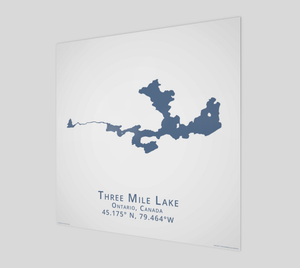 dark blue Three Mile Lake in Muskoka, glossy poster - square