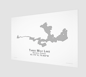 grey Three Mile Lake in Muskoka, fine art matte print - 3:2 ratio