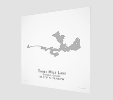 Load image into Gallery viewer, grey Three Mile Lake in Muskoka, fine art matte print - square