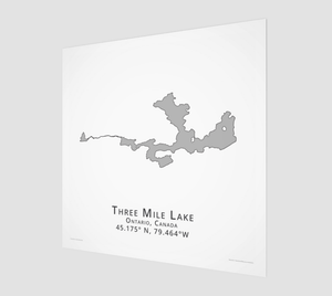 grey Three Mile Lake in Muskoka, fine art matte print - square