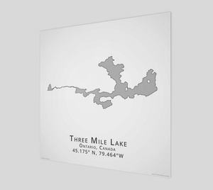 grey Three Mile Lake in Muskoka, glossy poster - square