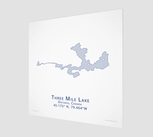 light blue Three Mile Lake in Muskoka, fine art matte print - square