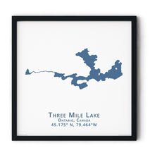 Load image into Gallery viewer, dark blue Three Mile Lake in Muskoka, fine art matte print in black frame - square
