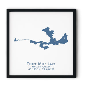 dark blue Three Mile Lake in Muskoka, fine art matte print in black frame - square