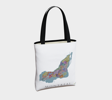 Load image into Gallery viewer, Tote Bag with Text Map of Montréal Neighbourhoods
