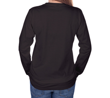 Load image into Gallery viewer, back of charcoal long sleeve tshirt with female model