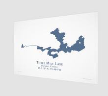 Load image into Gallery viewer, dark blue Three Mile Lake in Muskoka, fine art matte print - 3:2 ratio