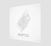 Load image into Gallery viewer, black and white map of Brampton, Ontario, streets - fine art matte print - square