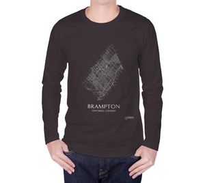 white streets of charcoal Brampton, Ontario, on long sleeve tshirt with male model