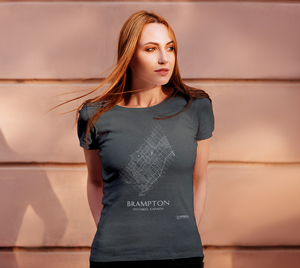 white streets of Brampton, Ontario, on deep heather fitted tshirt with female model