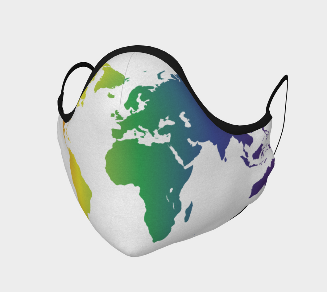 Face Covering - Rainbow World Map