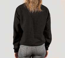 Load image into Gallery viewer, back of black crewneck sweatshirt on female model
